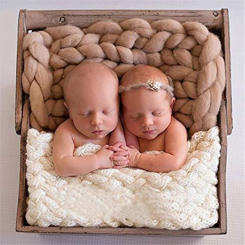 BABIFIS Manta Infantil recién Nacida de la fotografía, Manta súper Gruesa Manual de la Foto del bebé de la Manta de la Lana de DIY