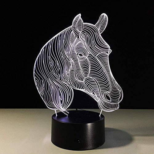 3D nachtlampje paard LED nachtlampje USB geschenken 7 kleuren veranderende 3D LED bureaulamp als hoofddecoratie lage kosten