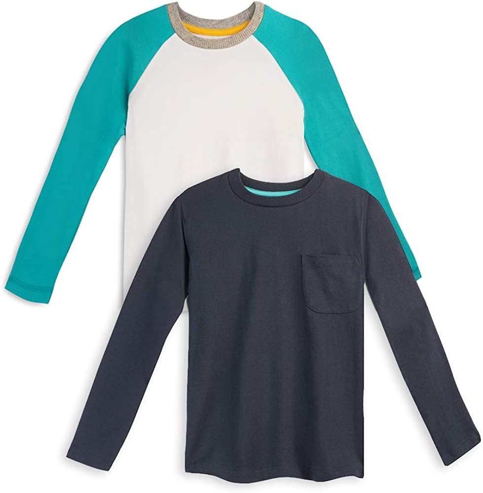 Mightly Boys and Girls' Long Sleeved Raglan | Organic Cotton Fair Trade Certified 2-Pack Shirt Set for Toddlers and Kids