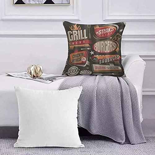 Funda de Cojín Funda de Almohada del Hogar BBQ Party Grill Diseño de menú con filetes Hamburguesas Alitas Salchichas Costillas y toci Square Soft and Cozy Pillow Covers,