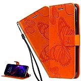 LEMAXELERS Carcasa Samsung Galaxy S8 Plus,Funda Samsung Galaxy S8 Plus Flores Mariposa Relieve Carcasa de Tipo Libro Ranuras para Tarjetas de Soporte y Solapa con Cierre magnético Case,KT Die Orange
