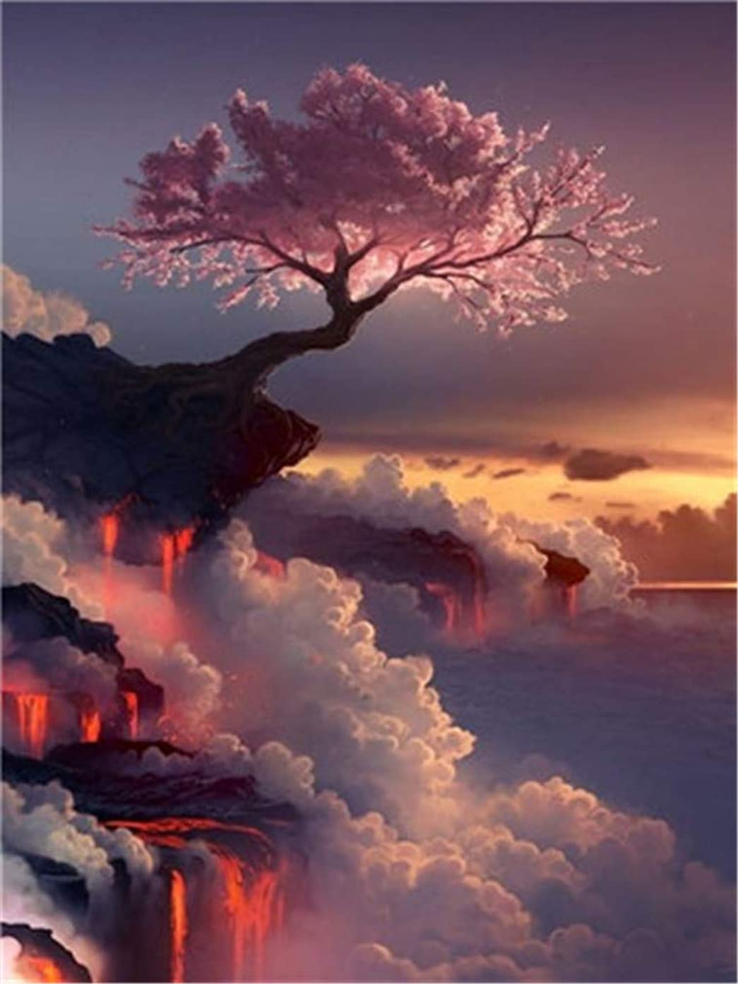YEESAM ART DIY Paint by Numbers for Adults Beginner Kids, Japanese Volcano Pink Cherry Blossoms Tree 16x20 inch Linen Canvas Acrylic Stress Less Number Painting Gifts (Pink, Without Frame)