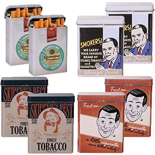 Bada Bing 8er Set Zigarettendose Slogan Retro Zigarettenetui Zigarettenbox Hardcase Metall 4fach Sortiert 61