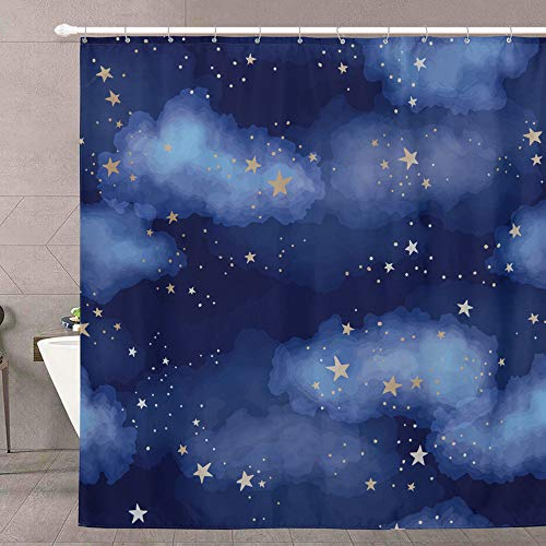 Stars and Clouds Fabric Shower Curtain for Girls - RoomTalks Watercolor Gold Shining Constellations in Dark Blue Night Starry Sky Cute Kids Bathroom Shower Curtain Sets Decor (72''W x 72''L, Blue)