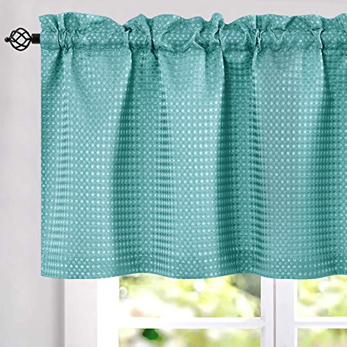 """Lazzzy Turquoise Blue Waffle Weave Textured Valance for Diet-Kitchen Window Covering for Kitchen 1 Panel 60""""x 18"""""""
