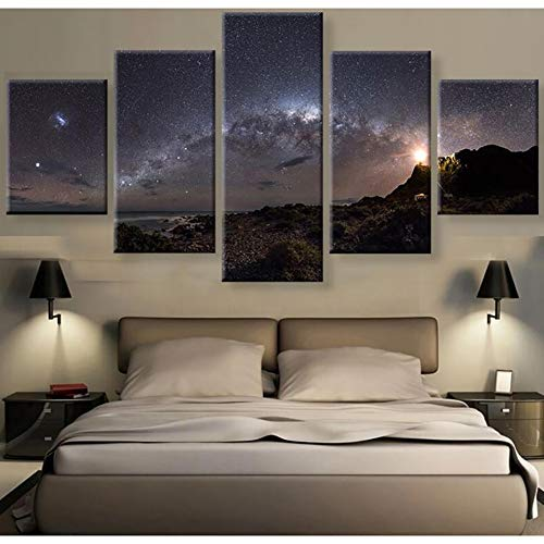 JSDJZSH Living Room Home Decor Wall Art Pictures HD Printed 5 Panel Milky Way Galaxy Stars Modern Painting On Canvas Poster Framework