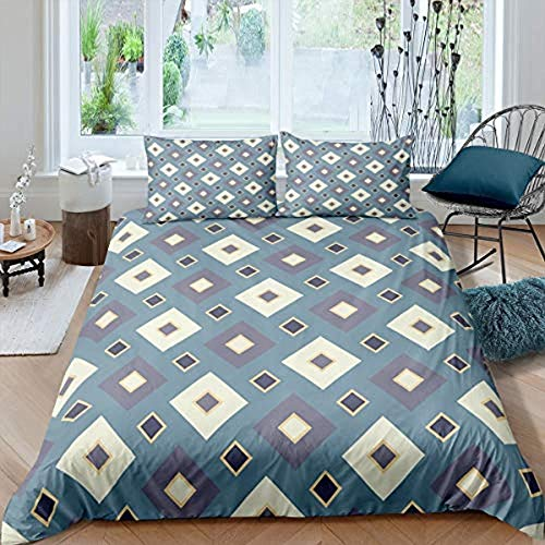 Yooseso 3D Bedding Set Pattern Geometry Blue Square Lattice Modern Fashion Super King 260 X 230 Cm Duvet Cover And 2 Pillowcases 50X75Cm Kids Boy Teenager Microfiber Soft And Breathable Bedding For