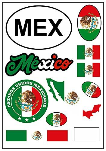 aprom Mexico - Pegatina para coche, moto, diseño de bandera de México