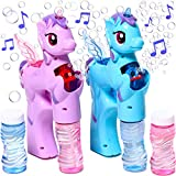 Unicorn Bubble Gun for Toddlers Set of 2 Musical Automatic Bubble Machine for Kids Outdoor Unicorn Bubble Blower Machine for Toddlers Handheld Bubble Blower for Toddlers Unicorn Bubble Maker Toy Guns