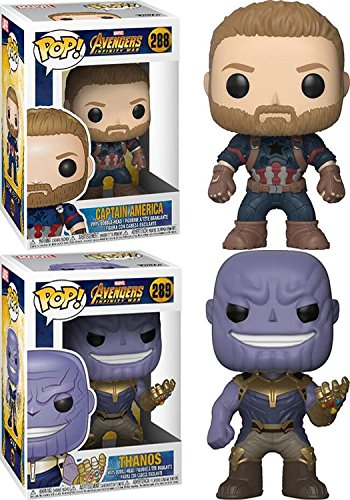 Funko POP! Avengers Infinity War: Captain America + Thanos – Marvel Stylized Vinyl Bobble-Head Figure 2 Character Bundle Set NEW