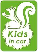 imoninn KIDS in car ステッカー 【マグネットタイプ】 No.36 リスさん (黄緑色)