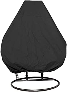 """Egg Chair Cover Double, Waterproof Outdoor Hanging Chair Cover for Large Double Patio Swing Chair 91"""" H X 80"""" D (Black)"""