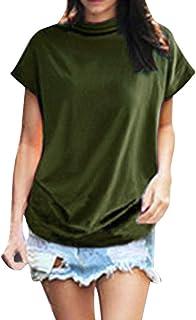 iHENGH Damen Top Bluse Bequem Lässig Mode T-Shirt Frühling Sommer Blusen Frauen Rollkragen Kurzarm Baumwolle Solide Casual Top