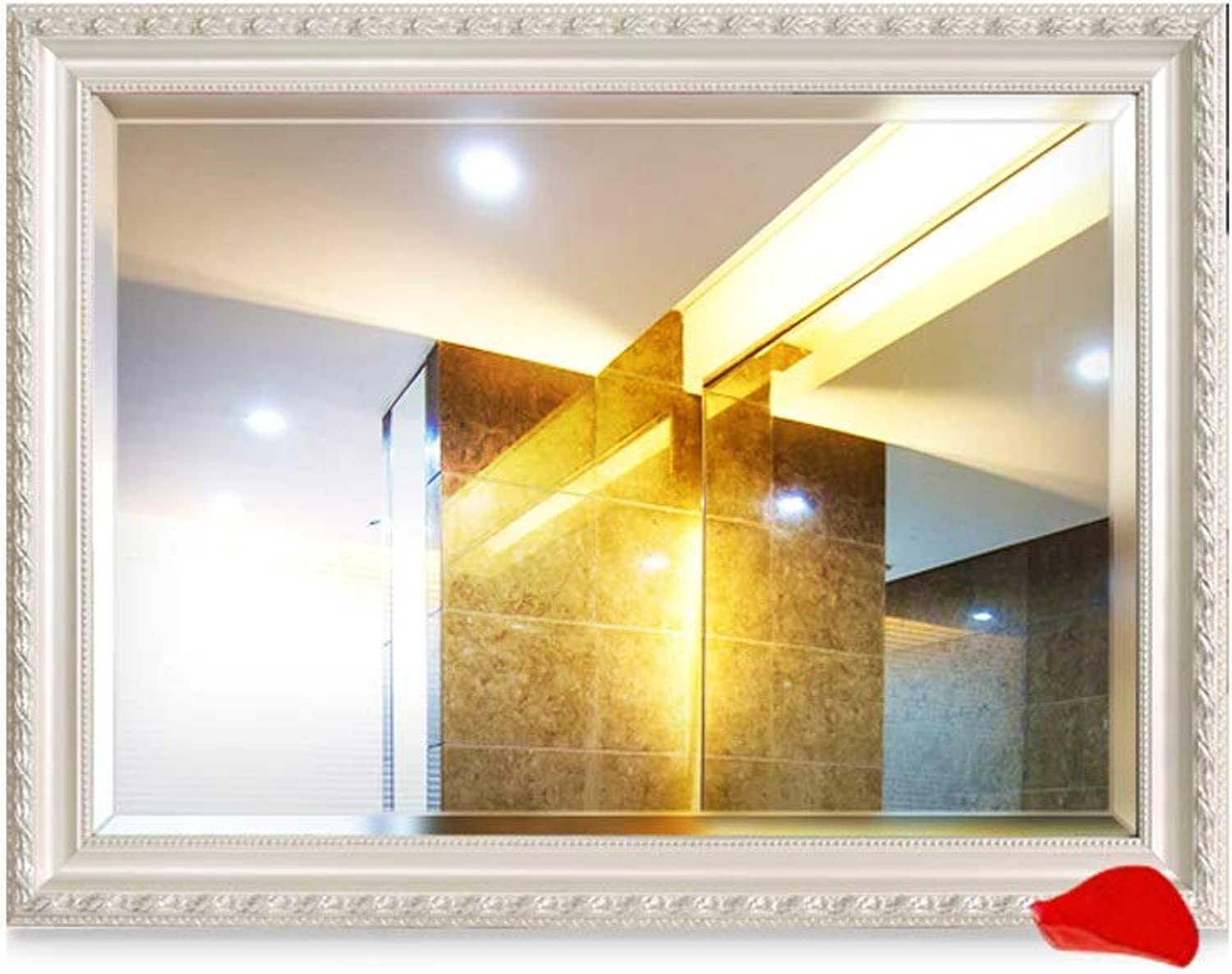 JUCAIYUAN Mirror White Wooden Border Bathroom Mirror European Wall Hanging Bathroom Mirror Bathroom Mirror Wash Mirror (Size   45cmX60cm)