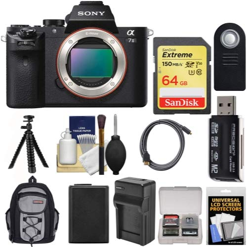 Sony Alpha A7 II Digital Camera Body with 64GB Card + Battery & Charger + Backpack + Tripod + Kit