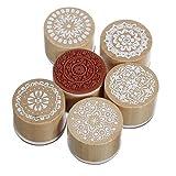 Itian 6 Piezas alta calidad de Floral Vintage Style madera redondo sello de goma