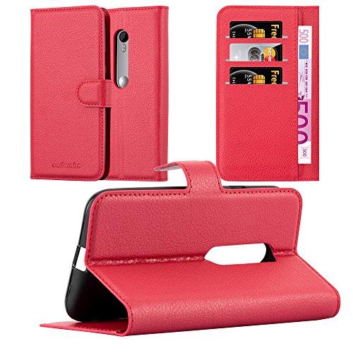 Cadorabo Hülle für Motorola Moto G3 - Hülle in Karmin ROT – Handyhülle mit Kartenfach und Standfunktion - Case Cover Schutzhülle Etui Tasche Book Klapp Style