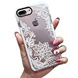 KERZZIL iPhone 8 Plus/7 Plus Case, Clear Lace Flower Pattern Design, Shockproof Protective Floral Bumper Cover Case for Girls and Women, Compatible for Apple iPhone 8Plus/7Plus, White Lotus