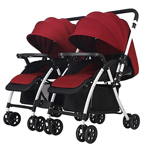 JCOCO Chariot jumeau, poussette de bébé, poignée pliante réversible légère peut s'asseoir et se coucher bébé panier (Color : Vin rouge)