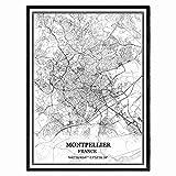 Montpellier Frankreich Karte Wandkunst Leinwand drucken