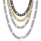 ChainsHouse Choker Collar Ajustable - Figaro 3+1 eslabones de Acero Inoxidable Color Plateado - 6mm de Ancho 41cm de Largo Ajustable