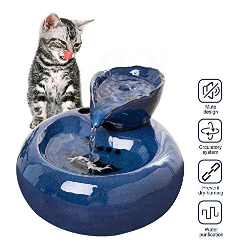 YUEBAOBEI Cat Water Fountain,Super Mute Ceramics Pet Water Dispenser Cat Dogs Best for Medium to Large Breeds and Multiple Pets,Blue