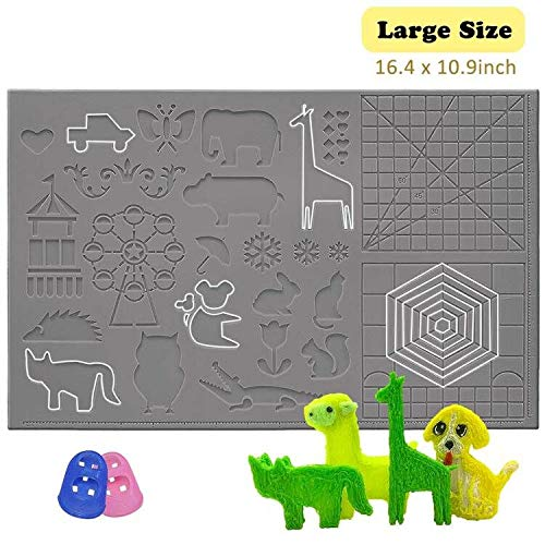 dikale 3D Pen Mat 16.4 x 10.9 inch, Upgraded 3D Printing Pen Silicone Design Mat with Basic and Animal Patterns, Large Silicone Mat with 2 Finger Protectors, 3D Pens Drawing Tools, Gray