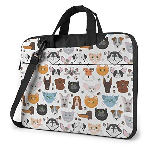 Laptop Shoulder Bag - Cat and Dog Faces Bulldog Beagle Labrador Printed Shockproof Waterproof Laptop Shoulder Backpack Bag Briefcase 14 Inch