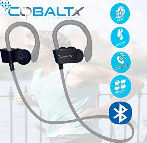 COBALTX Zero Gravity Sweat Resistant Super Lightweight Bluetooth Wireless Premium Stereo Headsets Sports Earphones 5 Hours of Music 30 Foot Range Premium Sound for Gym Running Workout (Grey) -  BT-3600