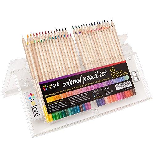 Colore Matite colorate -Set di pastelli temperati per colorare comprensivo di gomma e temperamatite -Ideali per la scuola, per adulti e bambini -60 colori
