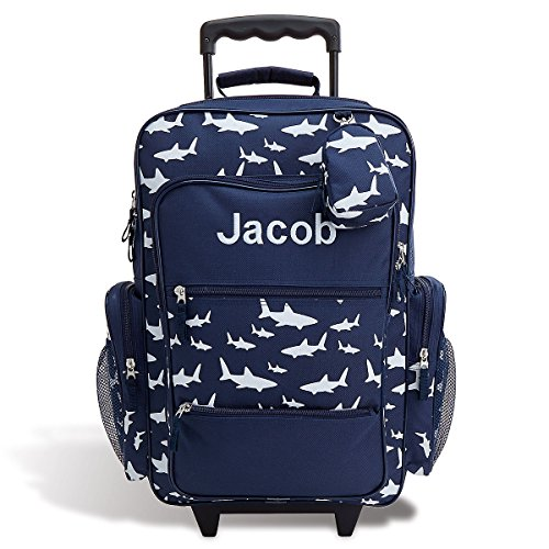 "Personalized Rolling Luggage for Kids – Shark Design, 6 x 15.5 x 23""H, By Lillian Vernon"
