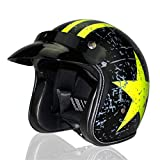 Qianliuk Motorrad Helm Vier Saison Retro Roller Halbhelm Retro Open Face Helm FüR...