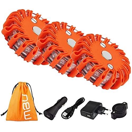 Luz LED de emergencia para coche, luz de emergencia, luz de señal, luz de señal, recargable, lámpara naranja, base magnética con 9 modos de iluminación, 3 unidades