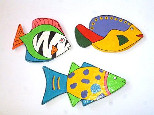 3er Set Fisch Magnete - Unikte. Pappmache Fischmagnet, Dekoration, Kinderzimmer Deko, Imitation