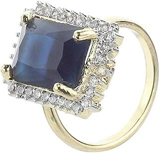 RaHee Brass Swarovski Crystal, Cubic Zirconia, Sapphire Gold Plated Ring