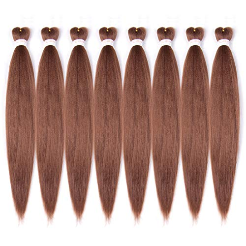Prestretched Braiding Hair 8 Packs Pre stretched Easy Braids Hair Synthetic Fibers Itch Free Hot Water Setting Yaki Texture Braids Synthetic Braiding Hair Pre-stretched 26 inch (#30, Medium Auburn)