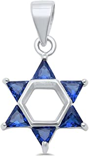 Blue Apple Co. Star of David Pendant Charm Triangle Cubic Zirconia 925 Sterling Silver Choose Color Jewish Star