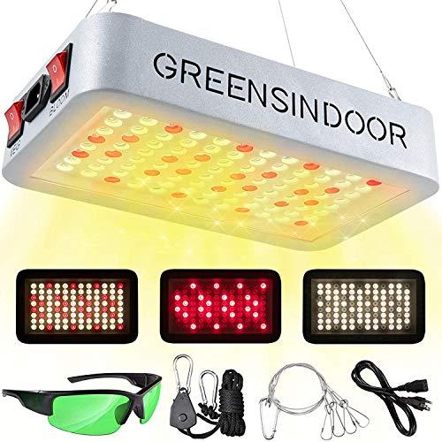 GREENSINDOOR 600W LED Pflanzenlampe mit Veg/Bloom Schalter, Vollspektrum LED Grow Light Pflanzenlicht mit Daisy Chain Funktion Pflanzenleuchte für Zimmerpflanzen Gemüse und Blumen