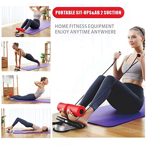 Fit Abs Trainer - SKYKreation New Generation Premium Portable Multi-Function Adjustable Muscle Training Double Suction Sit-Up Bar Abdominal Core Strength Fitness Equipment Home Gym Exercise Machine + BONUS Extra Resistance Band - PINK