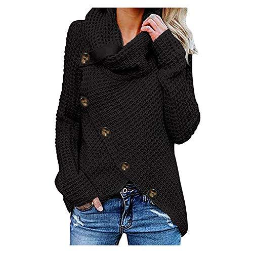 iHENGH Damen Herbst Winter Übergangs Warm Bequem Slim Mantel Lässig Stilvoll Frauen Langarm Solid Sweatshirt Pullover Tops Bluse Shirt (Schwarz-1, 4XL)