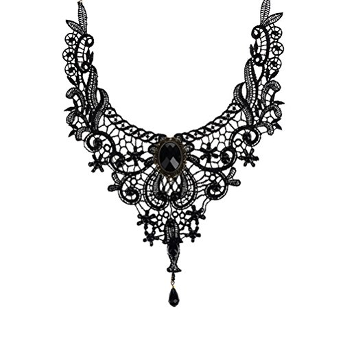 BESTIM INCUK Victorian Steampunk Style Lace Gothic Collar Lolita Beads Pendant Choker Necklace, Black steampunk buy now online