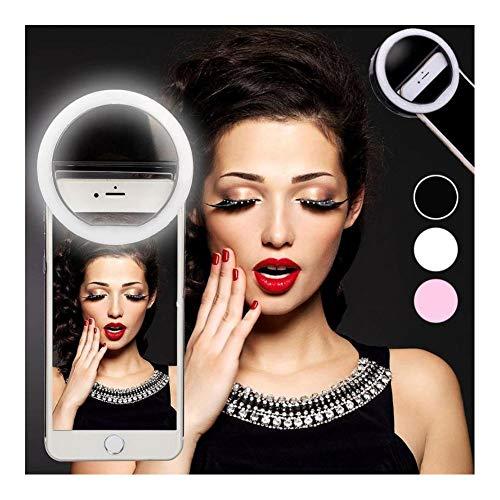 Make-up spiegel mobiele telefoon Selfie licht USB opladen LED lamp ring duisternis foto vullen schoonheid gereedschap roze batterij A-1