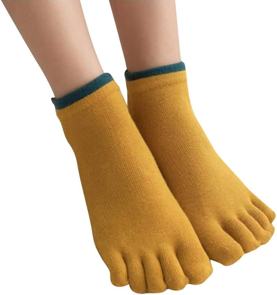 MANDDI 3 Pairs Casual Solid Color Anti-Odor Bamboo Fiber Socks Breathable Five-toe Sock