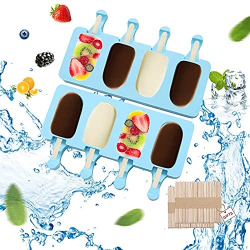 GUBOOM 2 PCS Moldes para Helado de Silicona, 4 Cavidades Juego de Moldes para Paletas moldes de congelador Sin BPA Reutilizables para Niños y Adultos con 100 Piezas de Palos de Madera (Azul)