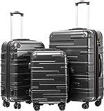 COOLIFE Hartschalen-Koffer Rollkoffer Reisekoffer Vergrößerbares Gepäck ABS Material mit TSA-Schloss