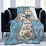 OLOSARO Hope and Love Religious Cross Easter Faith Fleece Blanket Throw Queen Size Lightweight Warm Soft Cozy Luxury Blanket Microfiber for Sofa Bed Couch Chair Fall Winter Spring Living Room