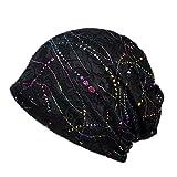 Aesy Berreto Turbante per la Perdita di Capelli Cancro Chemioterapia, Cuffia da Notte in Cotone per Chemio, Ciclismo, Corsa - Floreale Cappello Beanie Slouchy Hat per Donna (Nero #C)