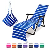Lounge Chair Cover Portable Microfiber Beach Swimming Pool Lounge Chair Towel with Pockets