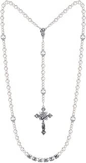 Crystal Dream Personalized Name Christening Luxury Silver Child Keepsake Rosary (RN)