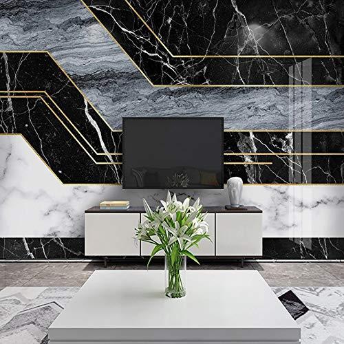 Papel pintado mural imagen 3D Mural personalizado moderno negro blanco azul 3D a rayas geométrico patrón de mármol papel tapiz sala de estar TV Fondo decoración de pared pintura